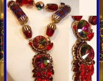 HUGE RUNWAY Couture Peacock RIvoli necklace fabulous glass stones red blue huge statement piece