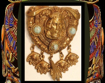 Vintage ART deco Brooch  Egyptian Revival figural chandelier drops Thief of baghdad