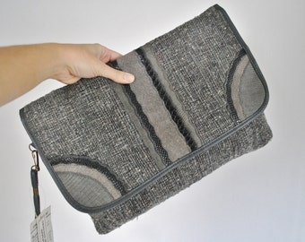 Kilim Clutch Bag / tapestry gray purse / DEADSTOCK