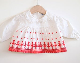 Vintage 1960's Baby Girl Shirt - Red Embroidered Girls (nb)