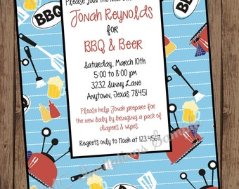 MAN SHOWER BBQ and Beer Invitation - 1.00 each with envelope