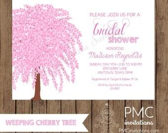 Custom Printed Cherry Tree Bridal Shower Invitations - 1.00 each with envelope