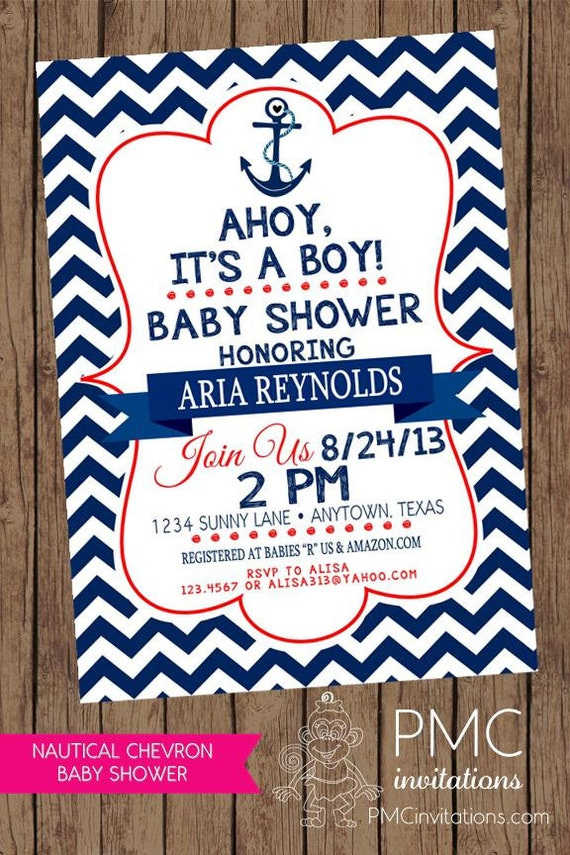 chevron nautical baby shower invitations each with envelope