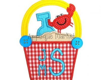 Machine Embroidery Design Applique Beach Bucket with Crab INSTANT DOWNLOAD