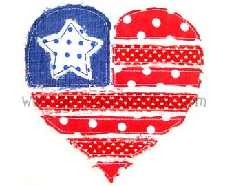 Machine Embroidery Design Applique Raggy Heart Flag INSTANT DOWNLOAD