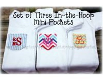 Machine Embroidery Design Applique Mini In the Hoop Pocket Set INSTANT DOWNLOAD