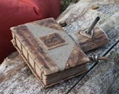 Vintage look burlap and leather journal wedding guest book  8,7 x 6,5 with names Coptic stitch Notepad Notebook Diary Sketchbook