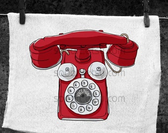 red voice phone vintage-Digital Image Sheet -SooArt Original Illustrate Drawing  A4 Print on Pillows, t-shirts, scrapbook, lampshades  ETC.
