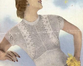 1950 Lacy Jumper Vintage Knitting Pattern 312