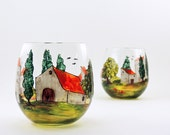 Hand painted stemless glasses - Set of 2 - Village Provencal collection