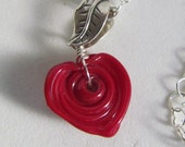Deep Red Heart Lampwork Pendant Necklace, Sterling Silver, Handmade by Harleypawd, SRAJD, SRA