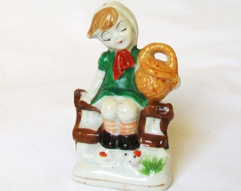 Little Girl with Basket Ceramic Figurine Occupied Japan Marking 3 Inch Tall Green Dress Red Bow Gold Basket