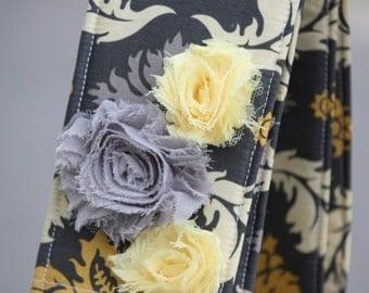 SLR or DSLR Camera Strap Cover - lens cap pocket and padding - Shabby Chic Damask in Granite Floral