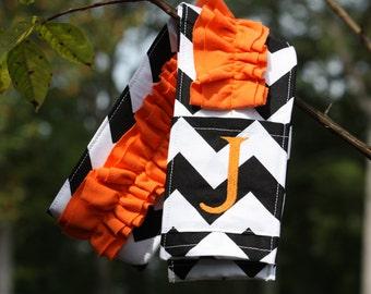 Monogrammed Ruffled Camera Strap Cover - Black Chevron/ Orange