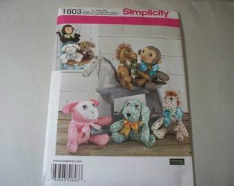 New Simplicity Stuffed Animal Pattern 1603 (Free US Shipping)