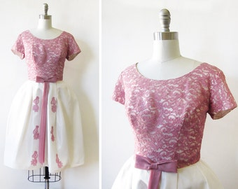 50s party dress, vintage 1950s lace taffeta dress, dusty rose and white dress