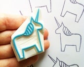 unicorn hand carved rubber stamp. dala horse stamp. fairytale birthday scrapbooking. holiday crafts. gift wrapping.  stamps by talktothesun