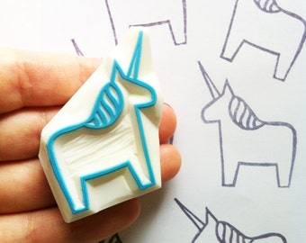 unicorn hand carved rubber stamp. dala horse stamp. fairytale birthday baby shower gift wraps. holiday crafts. stamps by talktothesun. no2