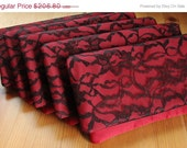 Sale 10% off 5 Red Satin and Black Lace Bridesmaid Clutches - Wedding Clutch Purse - Bridesmaid Gift Idea - goodmarvin