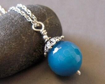 Aqua Blue Quartz Necklace, Sterling Silver, Hand Made, Stone