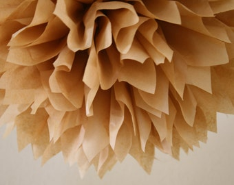 TAN / 1 tissue paper pom pom / neutral wedding decorations / diy / tan decorations / baby shower poms / nursery decorations / pompoms