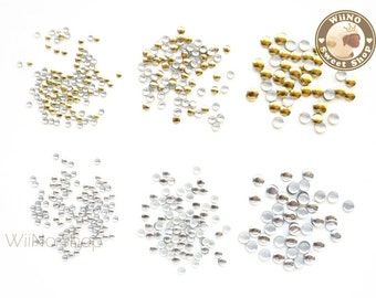 1.5mm 2mm 3mm Round Gold Silver Metal Studs Flat Back Nail Art - 100 pcs (choice of 3 sizes 2 colors)