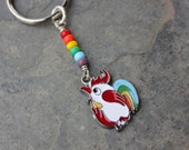 Funky Rainbow Rooster keychain - keyring with enameled chicken pendant and rainbow beads -  free shipping USA