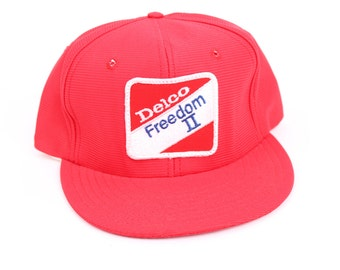 vintage 1970s Delco freedom trucker hat tool parts new old stock snap back american USA mens