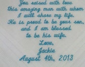 Father of the Groom Handkerchief/Hankie Wedding Customized by PamsEmbroidery Gift Envelope Included
