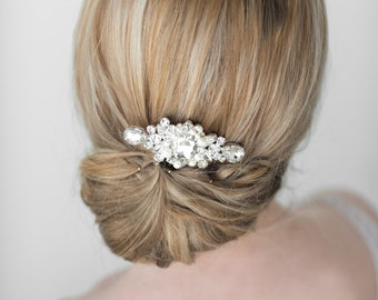 Wedding Hair Comb,  Bridal Headpiece, Crystal and Pearl Hair Comb, Wedding Hair Accessory