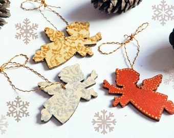 Christmas tree decoration - set of 3 angels with damask ornament