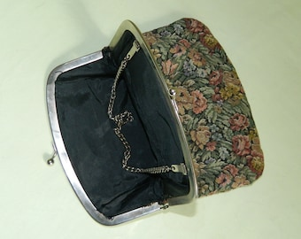 Tapestry Purse Fold over Clutch  Vintage 50s Small Handbag 50s Blue Rose Pink Moss Green Cranberry Red