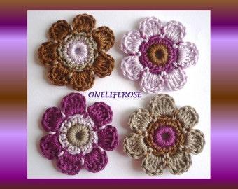 Crochet Flowers 4 pieces