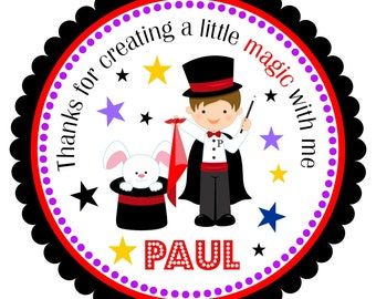 Magician Personalized Stickers, Favor Stickers, Magician Birthday Party, Magic Party - Set of 12