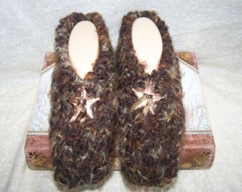 Men's Knitted Slippers with Star Concho Size 9, 10, or 11