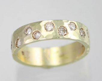 Hammered Band with Diamonds in 14KY Gold (Size 6.5) Made to Order