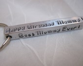 Personalized Custom Hand Stamped Bar Key Chain on TWO Inch Bar