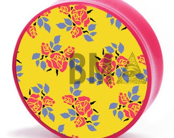 """11/16"""" (18mm) 70's Inspired Pink and Yellow Floral BMA Plugs Pair"""