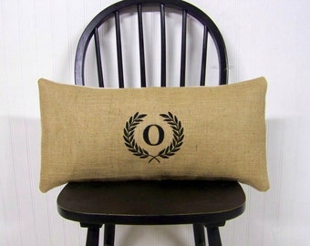 monogram pillow cover- laurel wreath pillow - burlap black lumbar embroidered monogrammed- personalized gift - custom - burlap pillow