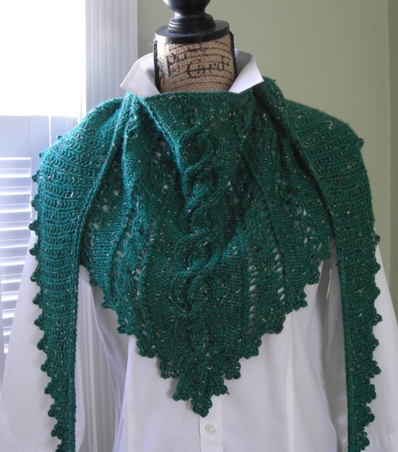 Clover Lace Cabled Shawlette PDF knitting by lavenderhillknits