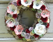 Vintage inspired red, ivory, mint green paper flower wreath