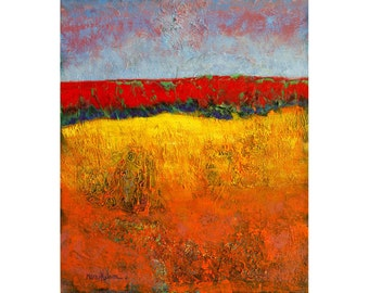 Hillside Landscape, Abstract Print, Bright Acrylic Colors, Red Yellow Hillscape, Modern Abstract Design, Contemporary Art, Wall Art, 14 x 11