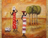 "Folk art painting Latin American Art ""Beautiful Day""  Original  Painting Abrstract Acrylic   African  By Maite- Cradled Panel"