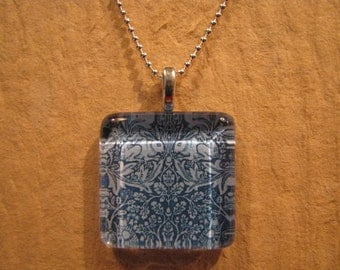"William Morris Blue Brer Rabbit Wallpaper Square Glass Pendant with 24"" Ball Chain Necklace Arts and Crafts Jewelry"