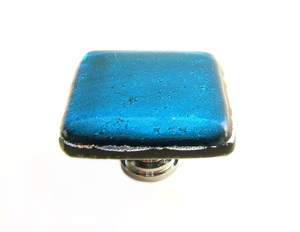 Glass cabinet knob in turquoise dichroic art glass custom for Turquoise cabinet pulls