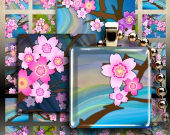 Digital Collage Sheets CHERRY BLOSSOM 1x1 inch and 1.5x1.5 inch size printable square Sakura images for pendants, magnets, bezel settings