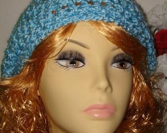 Hand Crochet Super Soft & Warm Blue Sky Homespun Slouchy Tam Beret/Clearance/Free US shipping/Women's Accessories/Winter Beret/Women's Tam