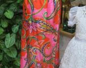 Vintage Bright print maxi skirt, silk like big paisley print maxi skirt, wrap tie maxi skirt, exotic print skirt, size M by Leisurewear