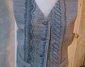 Vintage Wool alpaca taupe grey woman's vest, grey beige heathered preppy woman's vest, wool vest size M or L by Kenar made Hong Kong