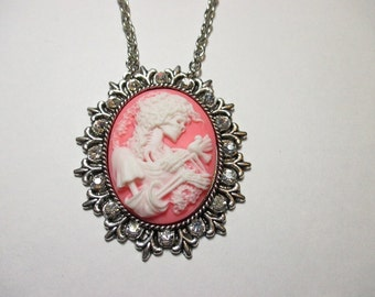 Skeleton & Dove Cameo Crystal Pendant Necklace -large